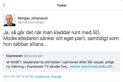 Morgan Johanssons uttalande på Twitter